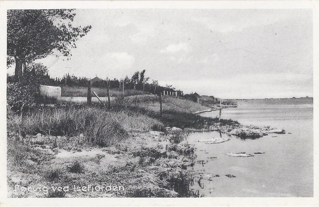"""Med Rørvig havn i ryggen, har boghandler Gunnar Rasmussen taget dette billede i midten af 40´erne.  Skansekrogen ses bagerst i billedet, og til venstre går Fjordstien, som bl.a. første forbi """"Coln"""" – """"Eller Coln Strand"""", som stedet omtales flere steder. """"Coln"""" kan skimtes over trætoppene med det karakteristiske pyramideformede tag med den åbne metalglobus. Postkort er stemplet i 1947."""