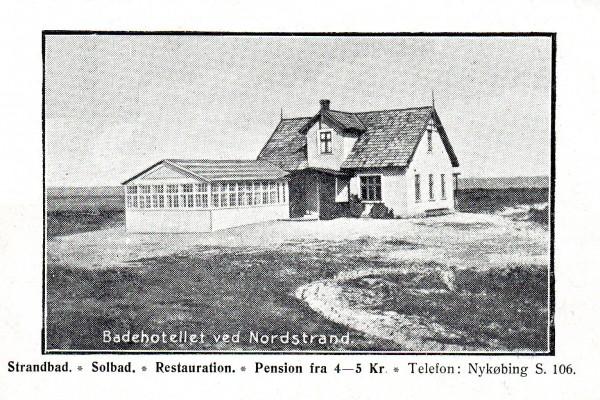 Reklamepostkort af badehotellet ved Nordstrand
